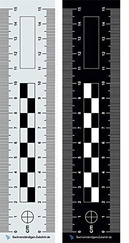 Sachverständigen-Zubehör Tatortlineal - doppelseitig bedruckt aus Kunststoff   15 cm   Dokumentationshilfe   Fotoreferenzmaßstab   Gutachter   KFZ Auto   Sachverständiger Wertermittlung