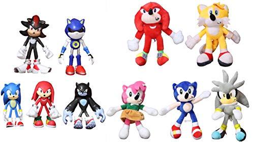 Juguetes Sonic 10 unids / Lote Juguetes de muñeco de Peluche sónico Gran Oferta Varios Roles de algodón sónico Juguetes de Peluche Suaves para niños