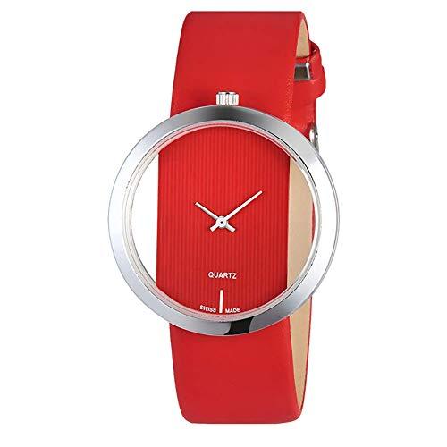 Fliyeong - Reloj de Pulsera analógico de Cuarzo para Mujer, Piel sintética, Resistente al Agua, Esfera Transparente, Elegante y Popular