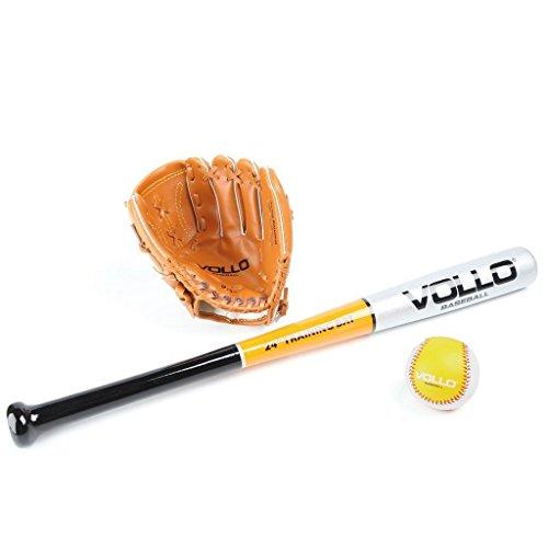 Kit para Beisebol 1 Taco de Madeira + 1 Bola de Couro + 1 luva em PVC - VOLLO 2409B
