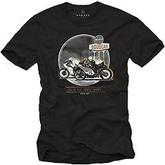MAKAYA Camisetas Hombre Originales Moto - Cafe Racer Accesorios -T-Shirt Negro