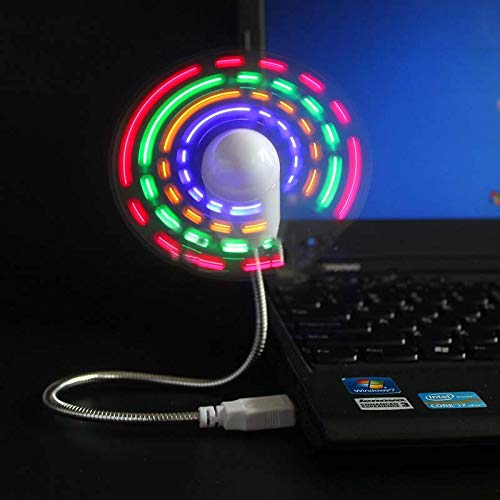 YUXIwang USB Mini ventilador de mano Mini USB ventilador portátil gadgets cuello de cisne flexible LED reloj fresco para portátil PC portátil pantalla en tiempo real durable ajustable