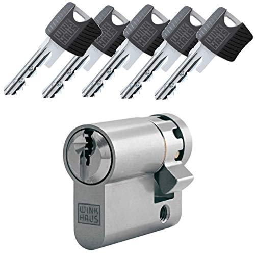 WINKHAUS RPE keyTec Halbzylinder 10/65 inkl. 5 Schlüssel - Sicherheits-Türzylinder - Sicherungskarte - mit Sperrkugel und Rippenabfrage (Gleichschließung)