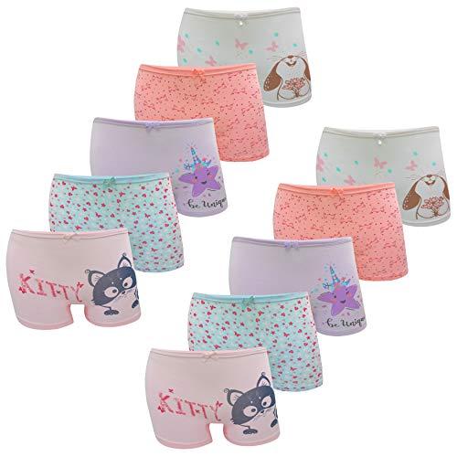 LOREZA ® 10er Pack Mädchen Pantys Boxershorts Unterwäsche aus Baumwolle (140-146, Modell 2)
