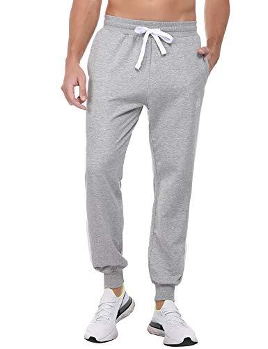 Sykooria Jogginghose Herren Trainingshose 100% Baumwolle Fitness Hosen Sweatpants Jogger Männer Mode Kontrast-Stripes Hellgrau, L