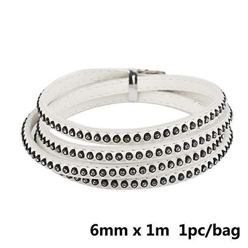 Crystal platte kabel 1m strass armband 6 mm en touw voor de doe-het maken van sieraden Choker Armband Fashion Accessories,wit