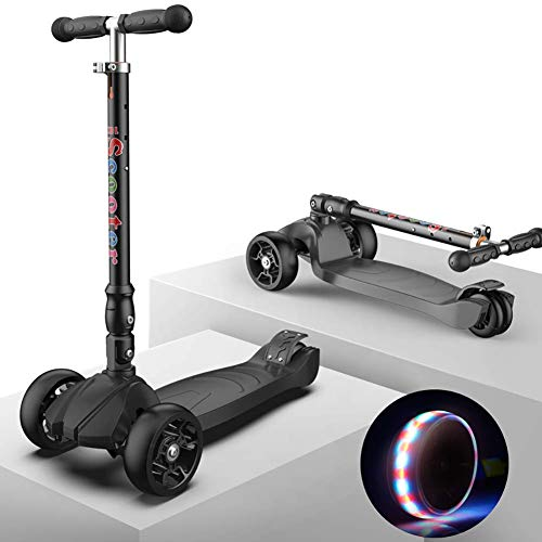 Lowest Price! PLLP Child Foldable Scooter-Scooter Kick Shock Absorption Kids for 50Kg Load, Pu Flash Wheel Folding Kick with Rear Brake, Age for 2-16Yr Boys/Girls,Black