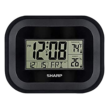 Sharp Atomic Wall Clock - Auto Update Time - Indoor Weather Station with Temperature and Humidity