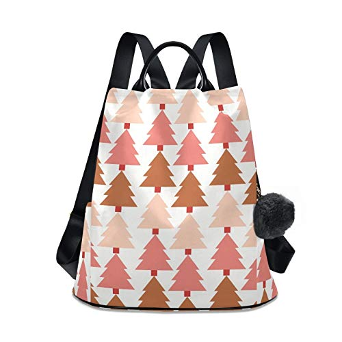 Waterproof Fashion Backpack for Women Anti Theft Womens Classical Daypack Travel Shoulder Bag Watercolor Pink Christmas Tree