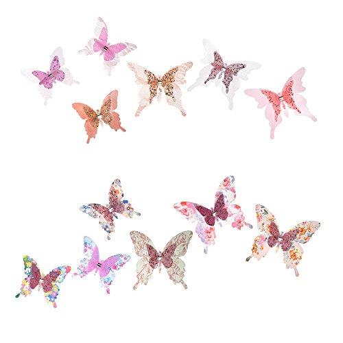 Roser Life Craft Butterflies⎮Decorative Artificial Butterfly Clips⎮Silk Fabric Butterfly Decorations⎮Floral Butterflies⎮Handmade Vintage Ornament⎮Home Party Garden Outdoor Decor Pink (Pack of 12)