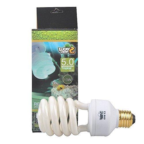 LUCKY HERP 5.0 UVB Fluorescent Tropical Terrarium Lamp,Compact Bulb,E26,13 Watts,26 Watt (13 Watt)