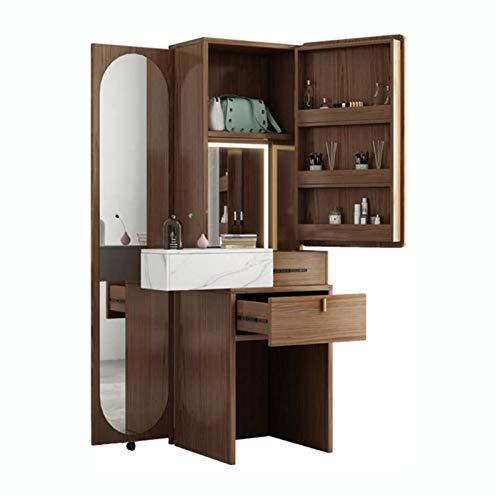 ZXN RTU - Juego de mesa de tocador resistente y duradero, moderno y minimalista, con taquillas, espejo de longitud completa, tocador para dormitorio, función de almacenamiento de gran capacidad