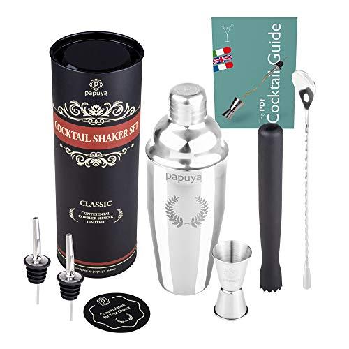 Cocktail Shaker Set Barman Professionale 750ml Acciaio Inox Completo Kit Accessori Ricettario Ebook Idea per Martini Gin Tonic Mojito Party Feste Aperitivo Bar Bartender e come Regalo Uomo Donna 2021