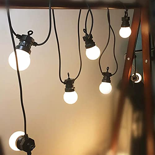 100 Foot G40 Outdoor LED String Lights - G40 LED Globe Bulbs (Black Wire) for Patio, Cafe, Bistro, Backyard and Party Lighting