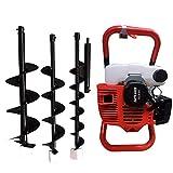 Aohuada Taladro de gasolina de 2 tiempos, 52 cc, para taladros de tierra, para pozos, incluye 3 brocas y barra de extensión de 30 cm