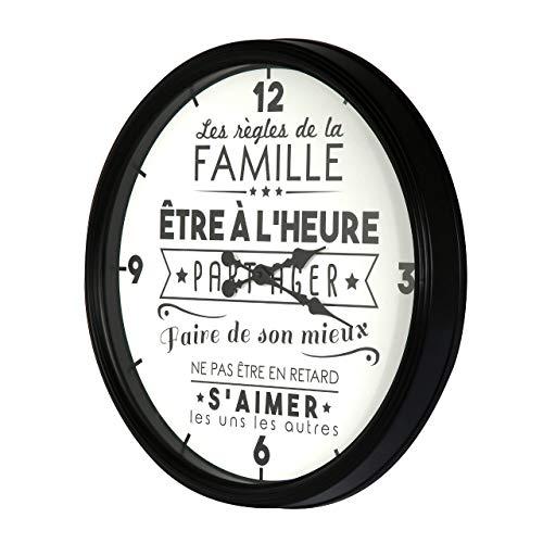 Home Deco Factory HD4680 Horloge La Vie en Famille, PP, Noir, 50 x 6 x 50 cm