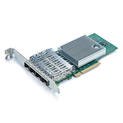 10Gb PCI-E NIC Network Card, Quad SFP+ Port, PCI Express Ethernet LAN Adapter Support Windows Server/Linux/VMware ESXi, Compare to Intel X710-DA4