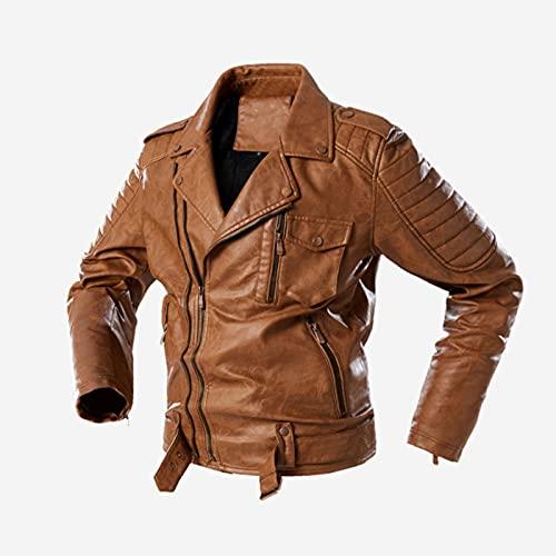 HUAJIE Chaqueta de motorista para hombre, con cremallera cruzada, estilo vintage, retro, piel de vacuno, perfecta para motocicleta, clásica, de piel, ajuste delgado, marrón, XXL