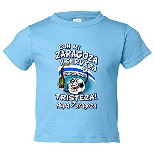 Camiseta bebé frase con mi Zaragoza y cerveza nunca hay tristeza para aficionado al fútbol - Celeste, 2 años