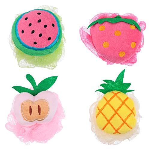 Minkissy 4Pcs de Ducha Baño de Esponja Esponjas de Malla de PUF de Ducha de Baño de Dibujos Animados de Bola Forma de La Fruta Exfoliante de Malla de Cepillo de Baño de Esponja de La Flor