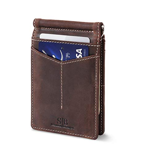 Travel Wallet RFID Blocking Bifold Slim Genuine Leather Thin Minimalist Front Pocket Wallets for Men Money Clip - Made From Full Grain Leather (Texas Brown Rogue)