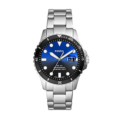 Fossil Men's FB-01 Quartz Stainless Three-Hand Watch, Color: Silver, Blue/Black Dial (Model: FS5668)