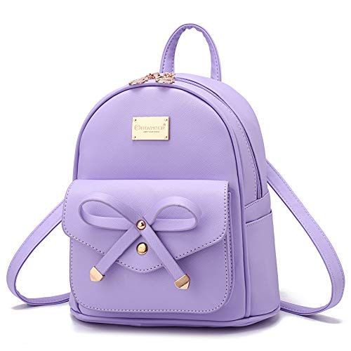 Girls Bowknot Cute Leather Backpack Mini Backpack Purse for Women Purple