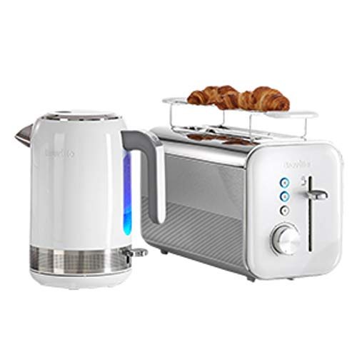 Breville VKJ944X Hochglanz Wasserkocher, weiß + Hochglanz Langschlitz-Toaster für vier Scheiben