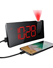 Alarm Clock, PICTEK Alarm Clock with Projection, 5'' LED Curved-Screen, 4 Dimmer, USB Phone Charging Port, 180° Rotable, Snooze, Digital Clock for Bedroom Ceiling Kid Senior 12/24H