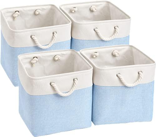 Mangata Aufbewahrungsbox,(33x33x33cm)Aufbewahrungskorb Stoff, Box in Würfel für Schrank, Regal, und Kleidung(Blau/Weiß, 1er Pack)