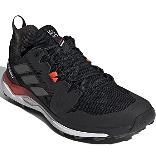 adidas Originals Terrex Agravic Trail Running Shoe, Negro, Gris y Rojo Solar, 12
