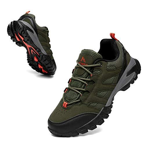 Zapatillas Trekking Hombres Calzado Mujer Senderismo Montaña Deportivas Trail Running Deporte Zapatos Antideslizante Ligeras Respirables Unisex Verde 41