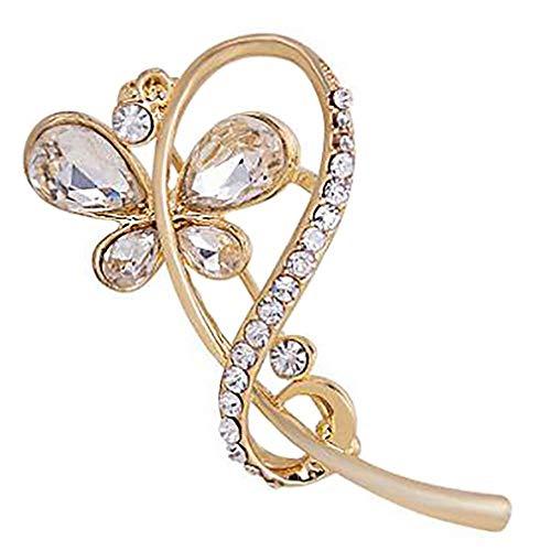 #N/A Rinclhu Broche de mariposa para boda con diamantes de imitación, bufandas, vestido de ramillete de novia, color blanco
