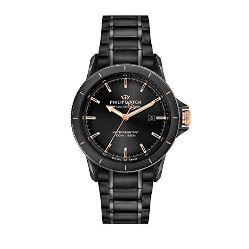Philip Watch Orologio da uomo, Collezione Grand Reef, funzione solo tempo, in acciaio, pvd nero - R8253214003