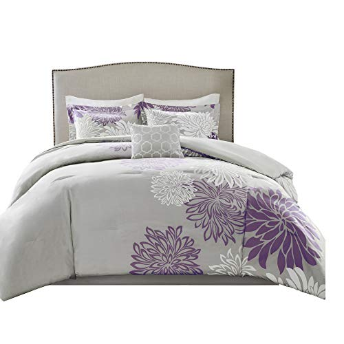 Comfort Spaces Enya 5 Piece Comforter Set Ultra Soft Hypoallergenic Microfiber Floral Print Bedding, Queen, Purple/Grey