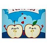 Póster de pared con marco para el día de San Valentín, diseño de manzana con texto en inglés 'I Love You', 50 x 70 cm