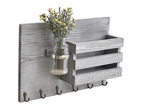 RongFeng Soporte para correo de pared de madera gris con 6 ganchos para llaves, uso en...