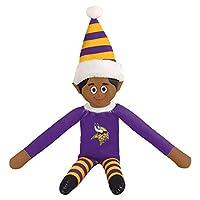 FOCO Ebony NFL Minnesota Vikings Bench Buddy Shelf Elf - Limited Edition NFL Team Christmas Elf - Plush Toy Travel Companion, Home or Tailgate