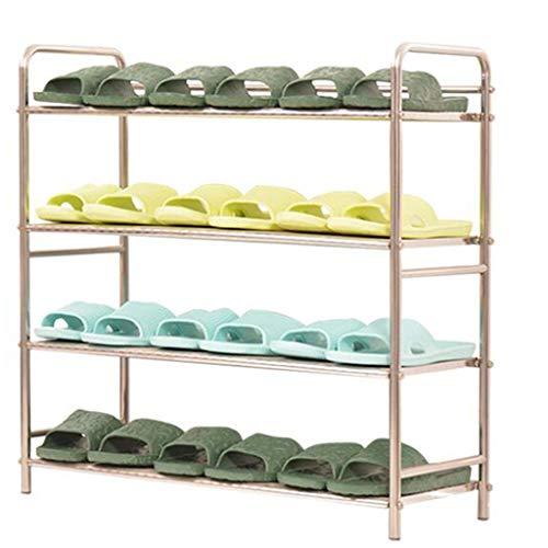 Shoe rack Fuerte Zapatero de Acero Inoxidable de múltiples Capas. Zapatero Simple. Almacenamiento en casa (Color : Four Grid, Size : Length 30cm)