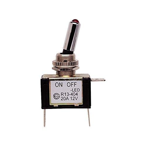 Bussmann BP/STT 20Amp ON-OFF interruptor con palanca de cromo y rojo LED, 12VDC (, 1Pack