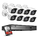 SANNCE Kit de Vigilancia 8CH DVR 1080P Lite 5-en-1 con 1TB Disco Duro Instalado + 8 Cámaras Sistema de Seguridad 1080P IP66 Impermeable IR-Cut Leds Acceso Remoto-1TB HDD