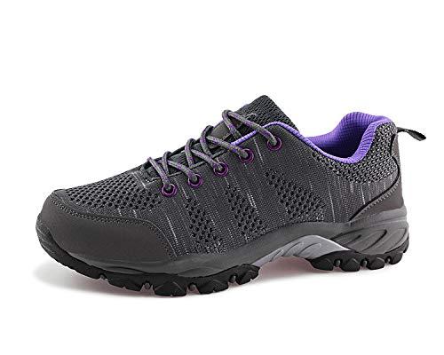 JABASIC Zapatillas de senderismo para mujer de malla transpirable atlética al aire...