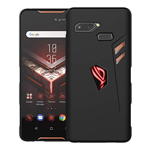 NEWZEROL per Astuccio ASUS Rog Phone Custodia [Air Trigger Cutout] Smerigliato [Slim-Fit] [Anti-graffio][Shock Absorption] Logo RGB Ritaglio Nero Custodia in Gel TPU Cover Soft Mate - Nero