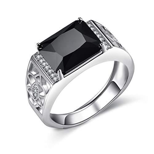 Men's jewellery black AAAAA cubic zirconia like diamond men's ring luxury gentleman ring men's hollow design best gift for men. Black
