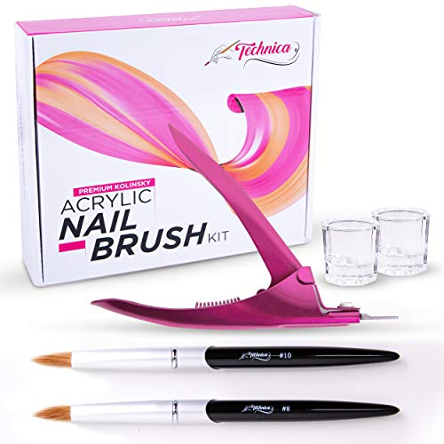 Technica Kolinsky Acrylic Nail Brush Set Premium Nail Kit For The Pro Nail Tech - Nail Salon Tested Acrylic Nail Kit Brings 2 Kolinsky Brushes Size 8 and 10-2 Dappen Dish and 1 Acrylic Nail Clipper