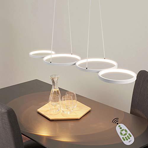 Lámpara colgante LED regulable lámpara de mesa de comedor moderna lámpara de dormitorio blanca 54W en óptica de anillo lámpara colgante de oficina ajustable en altura para comedor dormitorio estudio