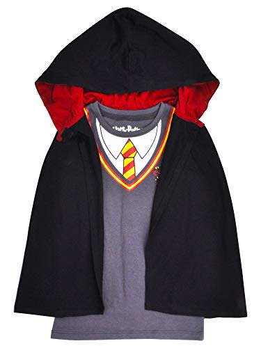 Harry Potter Girl's T-Shirt & Cape Set - Hooded Cloak Gryffindor (Small 6/6X) Grey