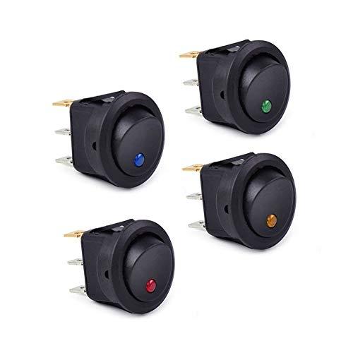 Ymhan 4pcs 12V CC EN Impermeable/Off Luz Ronda de Coches Rocker Dot Barco LED Conmutadores de Rojo y Azul y Amarillo y Verde Conmutadores Accesorios