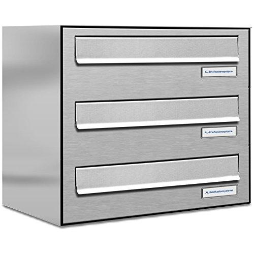 AL Briefkastensysteme 3er Briefkasten für Tür/Zaundurchwurf in V2A Edelstahl, 3 Fach, wetterfeste Premium Briefkastenanlage Design modern