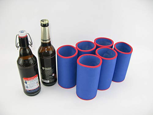 asiahouse24 6er Set blau Getränkekühler 0,5l Flasche - Bierkühler - Neoprenkühler - passgenau ~Flaschenkühler~ für alle genormten 0,5l Bierflaschen aus hochwertigen 5-6mm starken Neopren